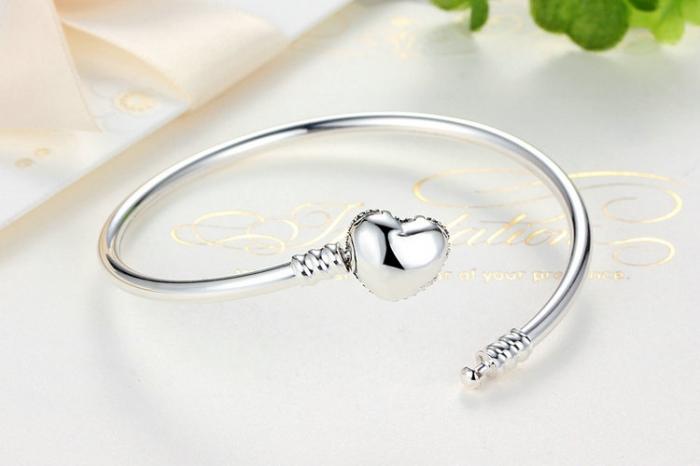 Bratara argint 925 cu inimioara Allways in my heart si zirconii albe - Be Elegant BST0015 1
