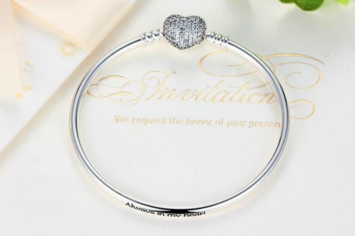 Bratara argint 925 cu inimioara Allways in my heart si zirconii albe - Be Elegant BST0015 2