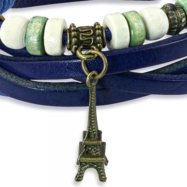 Bratara albastra din piele cu turnul Eiffel 1
