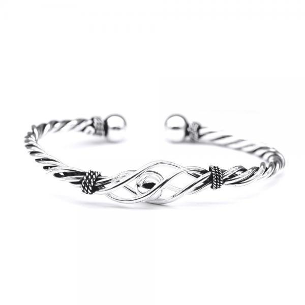 Bratara argint 925 cablu rasucit cu biluta 0