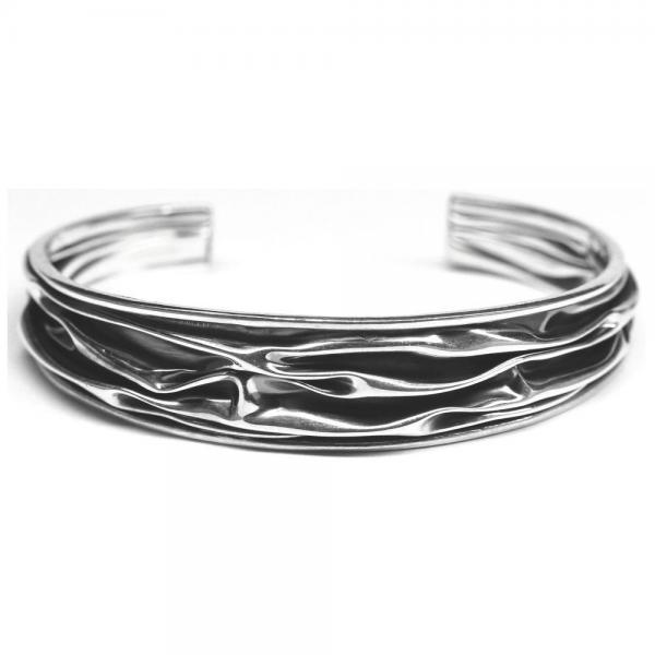 Bratara argint 925 eleganta cu valuri si aspect vintage 0