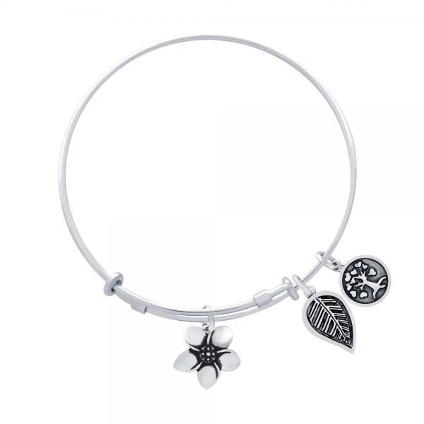 Bratara argint 925 reglabila cu floare frunza si copac [1]