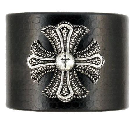 Bratara din piele cu cruce malteza din argint 1