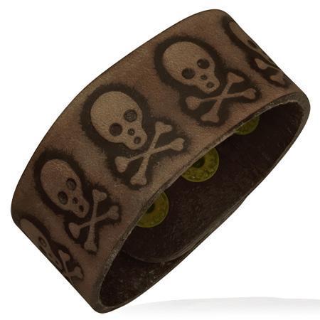 Bratara din piele maro cu cranii si oase [0]