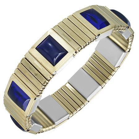 Bratara elastica din inox auriu cu pietre albastre 0