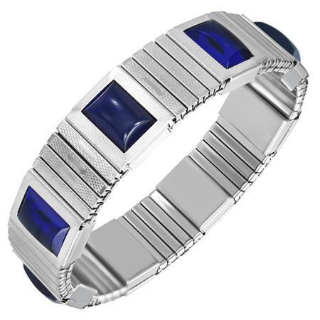 Bratara elastica din inox cu pietre albastre 0