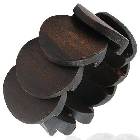 Bratara elastica maro din lemn 0