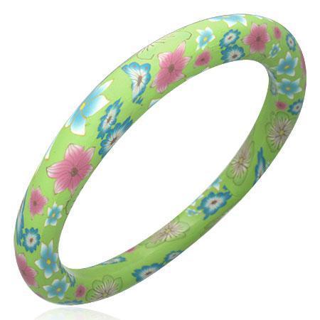 Bratara verde cu floricele roz si bleu 0