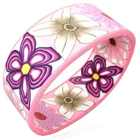 Bratara lata cu floricele mov roz si albe 0