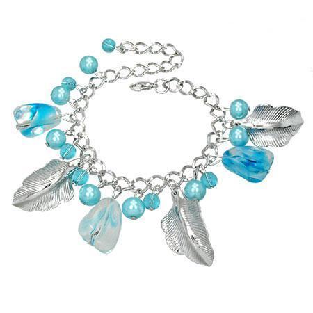 Bratara fantezie cu margele bleu si 3 frunze 0