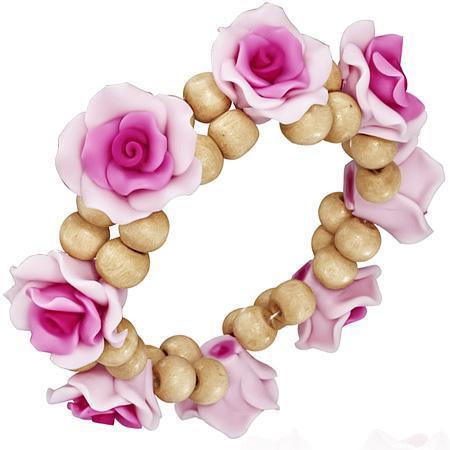 Bratara fantezie cu trandafiri roz 0