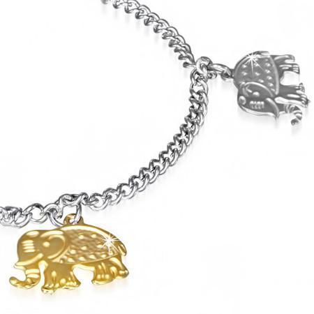 Bratara inox de mana sau glezna cu patru elefanti 1