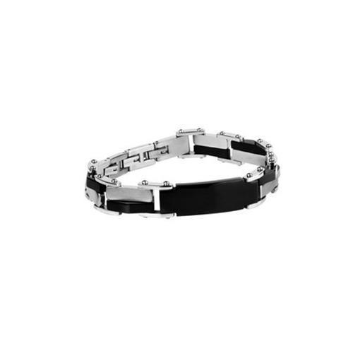 Bratara inox argintiu cu negru (lungime reglabila) [2]