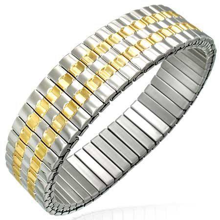 Bratara inox elastica cu dungi aurii 0