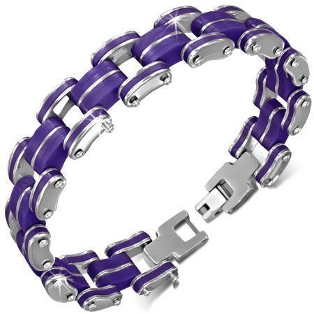 Bratara otel inox si cauciuc violet 0