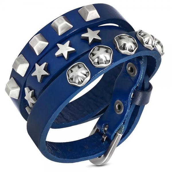 Bratara piele albastra cu accesorii metalice 0