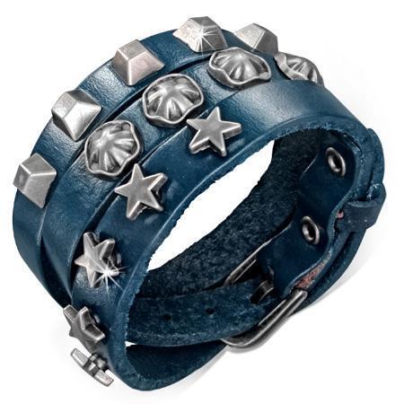 Bratara piele albastra cu accesorii metalice [0]