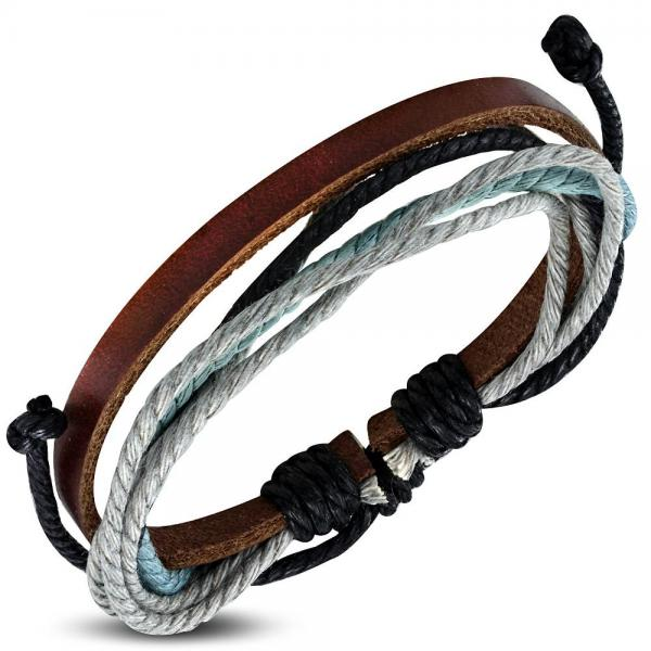 Bratara piele maro cu snururi multicolore 0