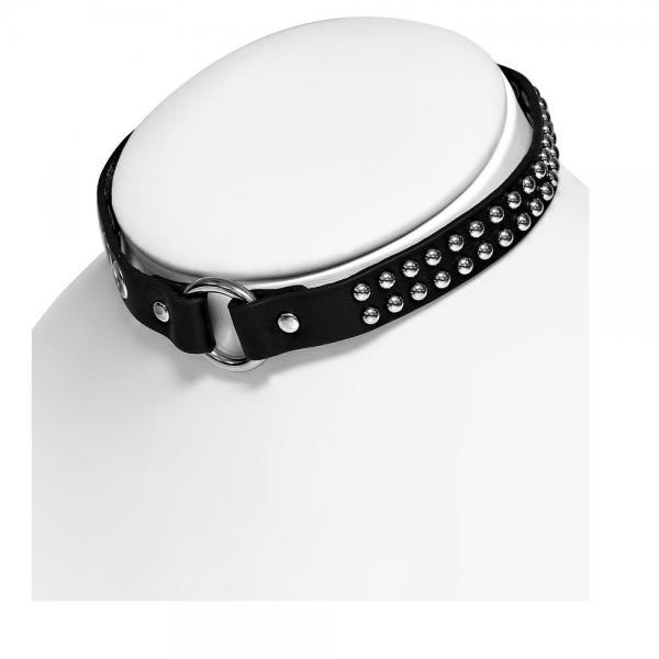 Bratara piele neagra cu accesorii metalice 1