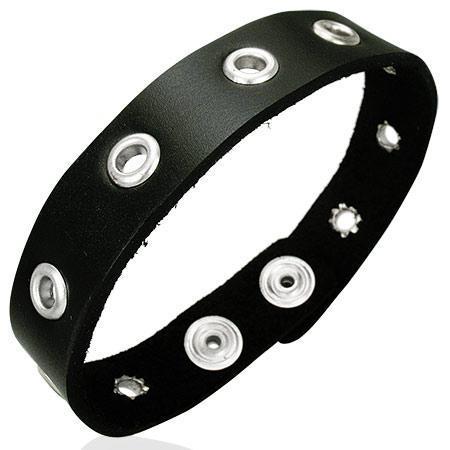 Bratara piele neagra reglabila cu accesorii metalice 0