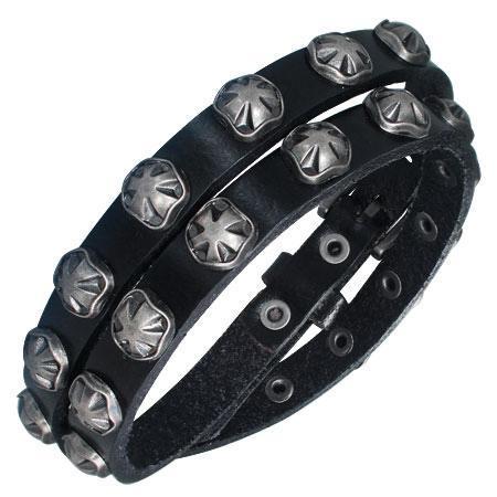 Bratara piele neagra cu accesorii metalice 0