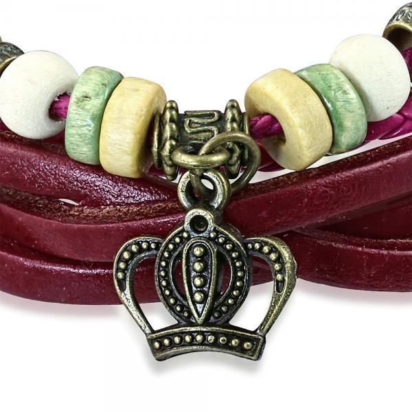 Bratara piele roz cu coroana 1