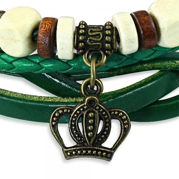 Bratara piele verde cu coroana 1