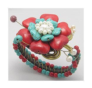 Bratara eleganta cu floare si perle naturale 0