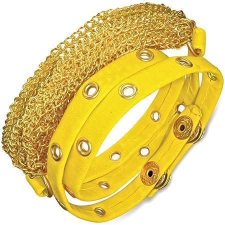 Bratra piele galbena cu accesorii aurii 0