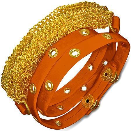 Bratra piele portocalie cu accesorii aurii 0