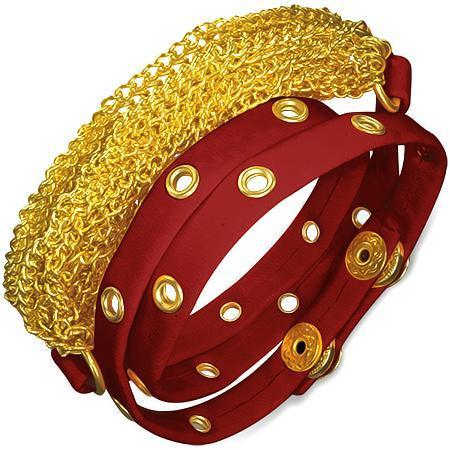 Bratra piele rosie cu lanturi si diverse accesorii aurii 0