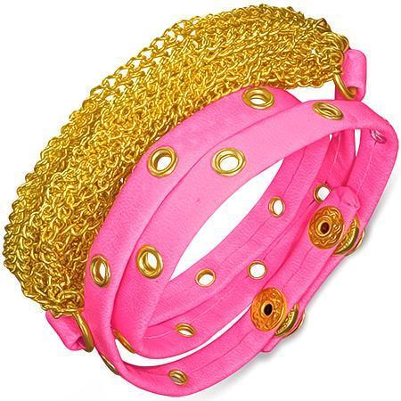 Bratra piele roz cu accesorii aurii 0
