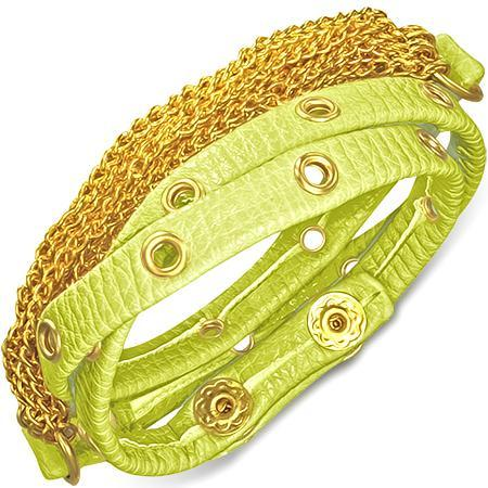 Bratra piele verde cu accesorii aurii 0
