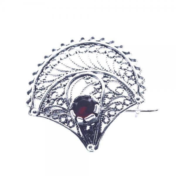 Brosa argint 925 floare cu zirconiu grena 0