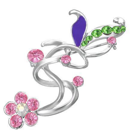 Brosa in forma de floare cu pietre multicolore 0