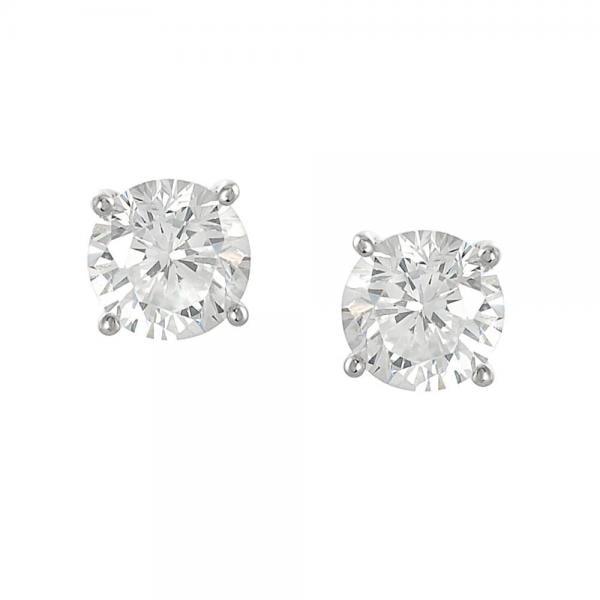 Cercei argint 925 cu zirconii albe rotunde 8 mm CER0197 1