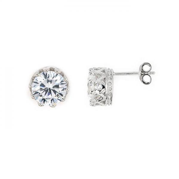 Cercei argint 925 eleganti cu zirconii stil coroana [1]