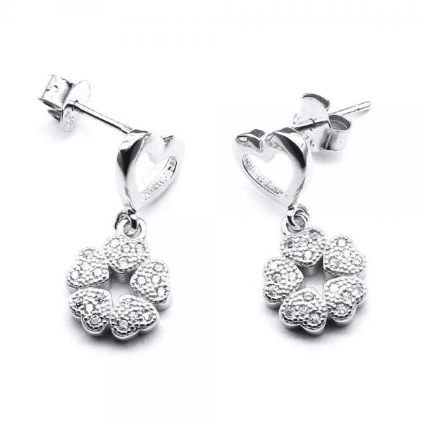 Cercei argint 925 rodiat cu inimioare si floricele 0