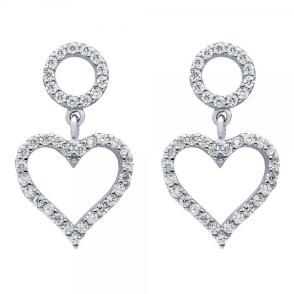 Cercei argint 925 rodiat cu inimioare si zirconii 1