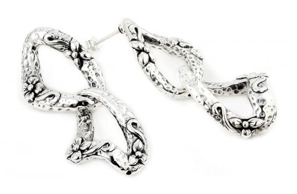 Cercei argint 925 vintage inscriptionati cu floricele 0