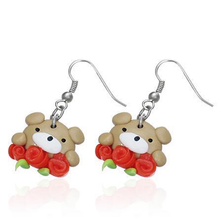 Cercei cu ursuleti si trandafiri 0