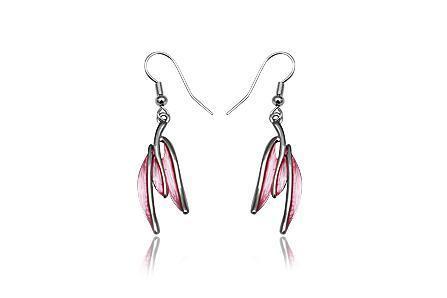 Cercei eleganti cu frunze roz si metal rodiat 1