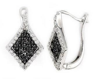 Cercei eleganti din argint 925 cu zirconii albe si negre 1