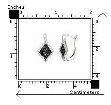 Cercei eleganti din argint 925 cu zirconii albe si negre 2
