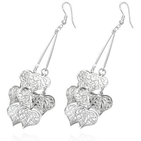 Cercei fantezie argintii decorati cu numeroase inimioare 0