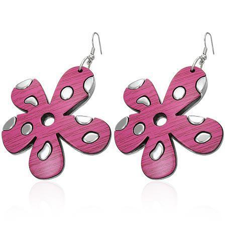 Cercei fantezie cu flori roz 0