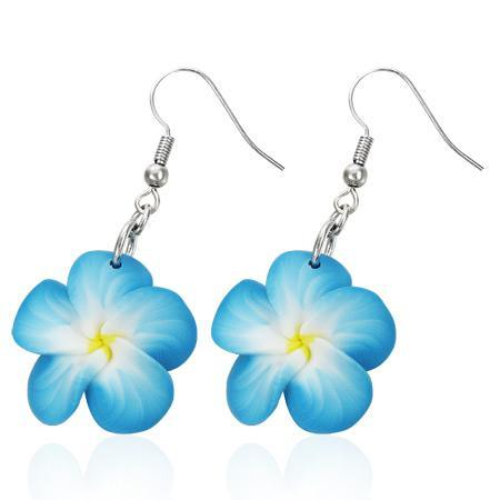 Cercei fantezie cu floricele bleu 0