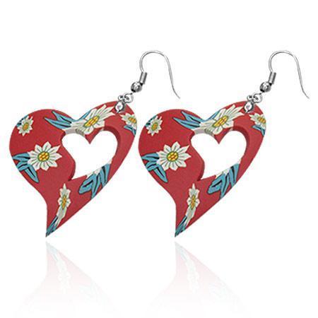 Cercei fantezie cu inimioare rosii decorate cu floricele 0