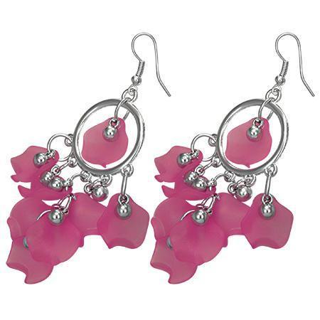 Cercei fantezie cu petale roz 0