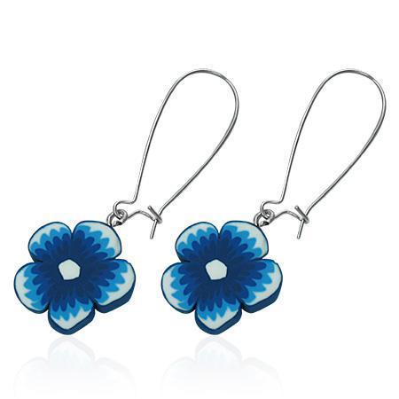 Cercei cu floricele albastre 0